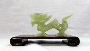 Vintage hand carved xui jade dragon display wood stand mid 1900s unused aa