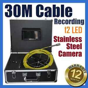 30M Snake Cable Under Water Sewer Drain Pipe Wall Inspection Recording Camera