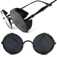 Black Side Shield Vintage Retro Vampire Goth Steampunk Style Round Sun Glasses