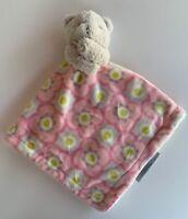 Blanket & Beyond Grey Bear Plush Security Blanket Lovey Pacifier Holder Pink