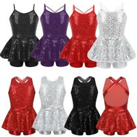 Kids Girls Sequins Modern Dance Dress Lyrical Ballet Leotards Dancewear Costume