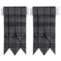 CC Hamilton Grey Tartan Kilt Flashes with Buckle/Scottish Kilt Hose Sock Flashes