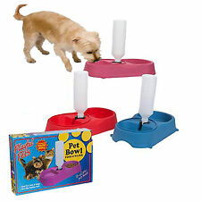 Twin Pet Food Bowl for Cats and Dogs with Water Refill System Assorted colours