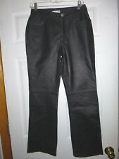 Vtg Newport News Easy Style Black Leather High Waisted Pants Womens Size 10