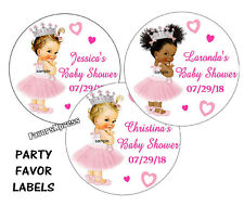 BABY SHOWER ROYAL PRINCESS STICKERS for FAVORS ~ for popcorn, goody bags, favors