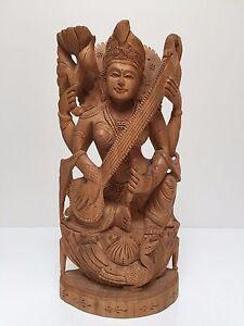Rare Hand Carved Vintage Wooden Indian Hindu Goddess Saraswati Statue Sculpture