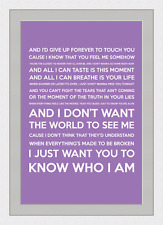I Don't Want The World To See Me (Song Lyrics) - Purple - Framed & Mounted - A3