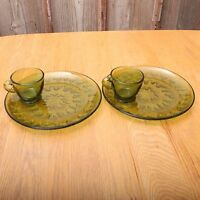 2 Vintage Indiana Glass Green Sunburst Snack Set Cup and Plate