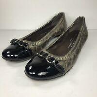AGL Attilio Giusti Leombruni Women Cap Toe Ballet Flats Sz 37.5 7.5 Black Bronze