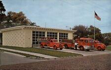 Largo FL Fire Dept Station & Trucks c1950s Vintage Postcard