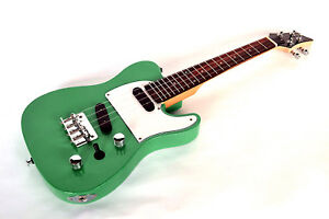 TENOR UKULELE ELECTRIC STEEL STRINGS TELE SHAPE UKE IN GREEN BY CLEARWATER