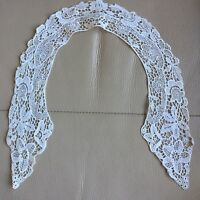 Edwardian Antique Lace Collar Schiffli White Bridal Project Floral Vintage Retro
