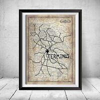 The Walking Dead Terminus Map Replica Prop Christmas Gift Art Daryl Negan Decor