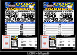 Seal Card 2-150ct 1W $1.00 COPS & ROBBERS Bingo pull tab ($50)