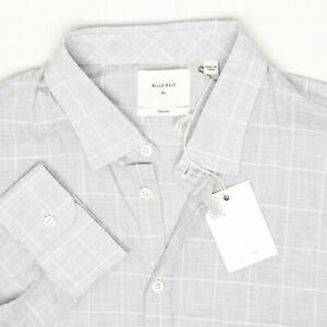 Billy Reid Mens Shirt XL Standard Cut Gray White Windowpane Spread Collar Italy