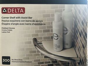 Delta Corner Shelf With Assist Bar-Polished Chrome-Maximum 300Lbs New