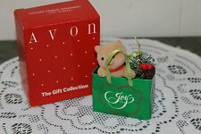 AVON  VINTAGE  HOLIDAY  FRIENDS  ORNAMENT  CAT  IN  BAG