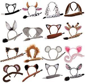 Animal Ears Headband and Tail Set Adults Child Fancy Dress Costume Accessory