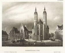 NAUMBURG - DOM - OSTFASSADE MIT DOMPLATZ - Meyer's Universum - Stahlstich 1863