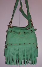 MAJA Handbag Turquoise Leather / Suede, Shoulder - Cross body Fringe
