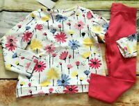 Gymboree 3T Wildflower Weekend Flower Sweatshirt Top Coral Leggings NWT