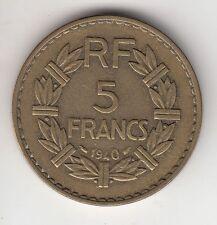 MONNAIE FRANCE 5 FRANCS LAVRILLIER  1940  CUPRO ALU