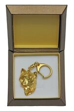 Chinese Crested - gold plated keyring with dog in box, high quality Art Dog IE