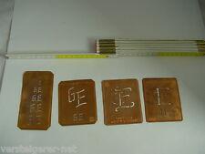 4 x GE Merkenthaler Monogramme, Kupfer Schablonen, Stencils, Patrons broder