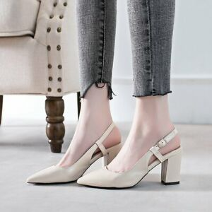 Womens Pointed Toe Dating Buckle Shoes Slingbacks Block Mid Heel Pumps Sandals