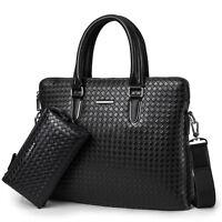 Men Leather Business Briefcase Shoulder bag Tote Handbag Messenger Bag Laptop