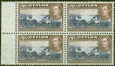 More details for ceylon 1938 1r blue-violet & chocolate sg395 fine mnh block of 4