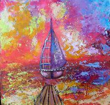 Peinture acrylique sur bois . 8.5 x 8.5 inch. 22x22 cm