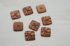 8pc 25mm Copper Crumpled Metal Effect Shirt Coat Cardigan Knitwear Button 3675