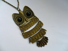 Unusual  Large Owl Bronze Necklace  Lovely Gift