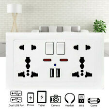 Double Wall 1/2 Gang Socket with 2 USB fast Charger Ports Plug Switch Plate UK