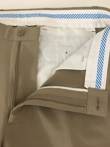 Footjoy Mens Solid Beige Polyester Performance Flat Front Golf Pants Size 33x30
