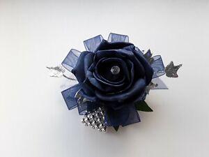 Prom /Wedding navy blue Rose /silver Wrist Corsage/sparkle/glitter bead bracelet
