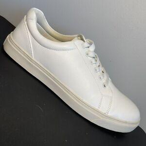 VOSTEY Men's White Sneaker w/ Faux-Leather Off-white Midsole Sz 10 (Fits Sz 11)