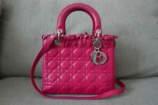 Sale! Limited Ed! EUC Auth Lady Dior Cannage Medium Lambskin Bag Fuschia Pink