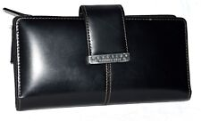Kenneth Cole Reaction Black White Stitching Leather Organizer Checkbook Wallet