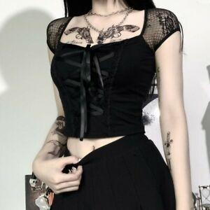 Lolita Gothic Square Collar Lace Up Crop Top Short Sleeve Blouse Punk T-Shirt