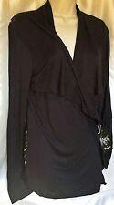 NEW Rock 47 Wrangler LJK3509 Women's Lace Back Long Sleeve Black Cardigan Medium