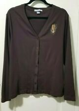 Port Authority WESTERN Button Cardigan Shirt L Large Dark Brown Embroidered SPUR