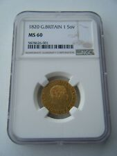 More details for 1820 sovereign king george iii ngc ms60 full gold sovereign coin
