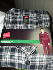 Hanes mens plus 2 piece l/s flannel pajamas new cotton plaid black gray red 2XL