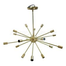 18 Lights Mid Century Modern Polished Brass Sputnik Chandelier light fixture