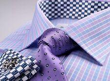 Purple Blue Plaid Checkered Mens Formal Business Dress Shirt Money Boss Fashion