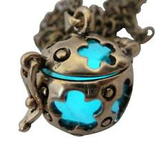Wishing ball Fairy Magical Fairy Glow in the Dark Necklace-Aqua-bronze Steampunk