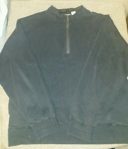*Mens Large Orvis black 1/4 zip pullover with pockets Shirt Long Sleeve