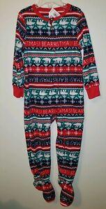 Old Navy Unisex Boys Girls 3T 'Beary Christmas' One Piece Fleece Sleeper Pajamas